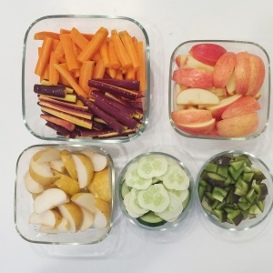 Orange & purple carrots, apples, asian pears, cucumbers (from my garden), sweet peppers.