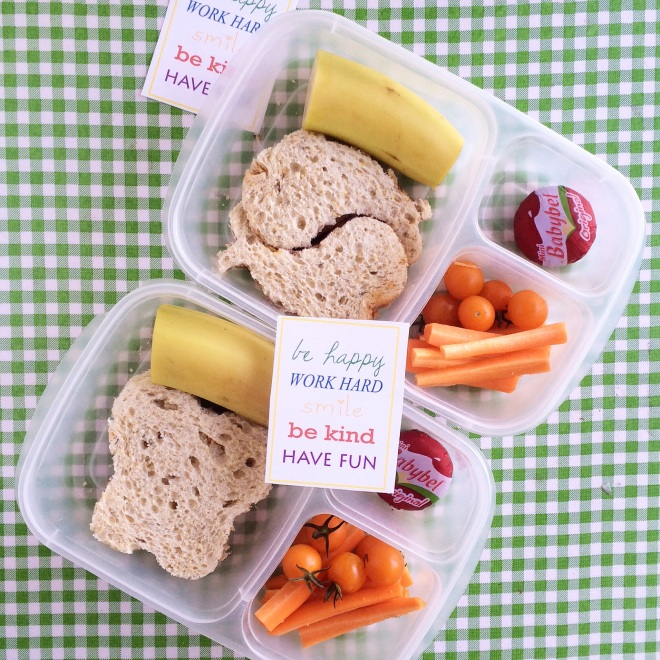 First day of school!  Sunbutter and homemade jam on wheat bread, tomatoes, carrots, cheese, banana.  And a little lunchbox note that I made up.